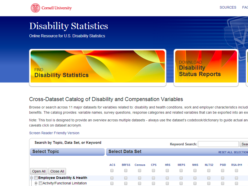 Cross-Dataset Catalog of Disability and Compensation Variables